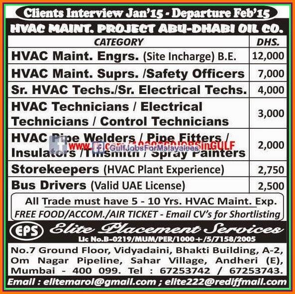 Hvac Maint Project Abudhabi Job Vacancies Gulf Jobs For