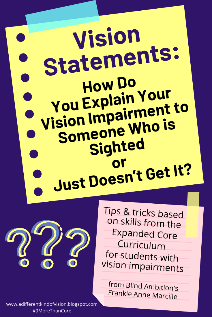 """graphic that says Hi everyone! Today, I'm going to be talking about something that I've spent the past twenty-plus years trying to navigate. It's something that I'm constantly updating, editing and reworking. It's what i like to call my """"vision statement"""" or my first step to advocacy. A vision statement is the basic explanation of my vision impairment to someone who may not fully understand. Once I started using a vision statement to help me explain my vision impairment to others, I felt my confidence and comfortability in talking about it growing tremendously. It became easier to stand with pride and talk about my vision, and help others to understand this important part of me!  The idea of legal blindness is hard for people to comprehend because in a lot of ways it is a grey area. There are some things I can see, some things I can't and for those who aren't familiar with it, that can be super confusing. What made it even more confusing is when they asked me about my vision, I started throwing medical terms at them that I had studied and made sense to me, but to them it sounded like a foreign language.  So how do you do it? How do you help the sighted people in your life to grasp what your vision impairment means and what it consists of without making it awkward and uncomfortable for both you and them? I've come up with five steps to create a clear and concise Vision Statement to share with those in your life who don't quite get it, but desperately want to!  1. Keep it short. The only thing more awkward than you not knowing what to say when asked about your vision, is if you talk FOREVER about your vision. People want to understand but again- the more language you use, the more """"formal"""" you make the initial conversation, the more confusing it can be. Keep it short and sweet: three-five sentences that capture the most essential parts of your vision impairment! And then if they have questions or want to keep talking, that's great, but the clearer and more concise you"""