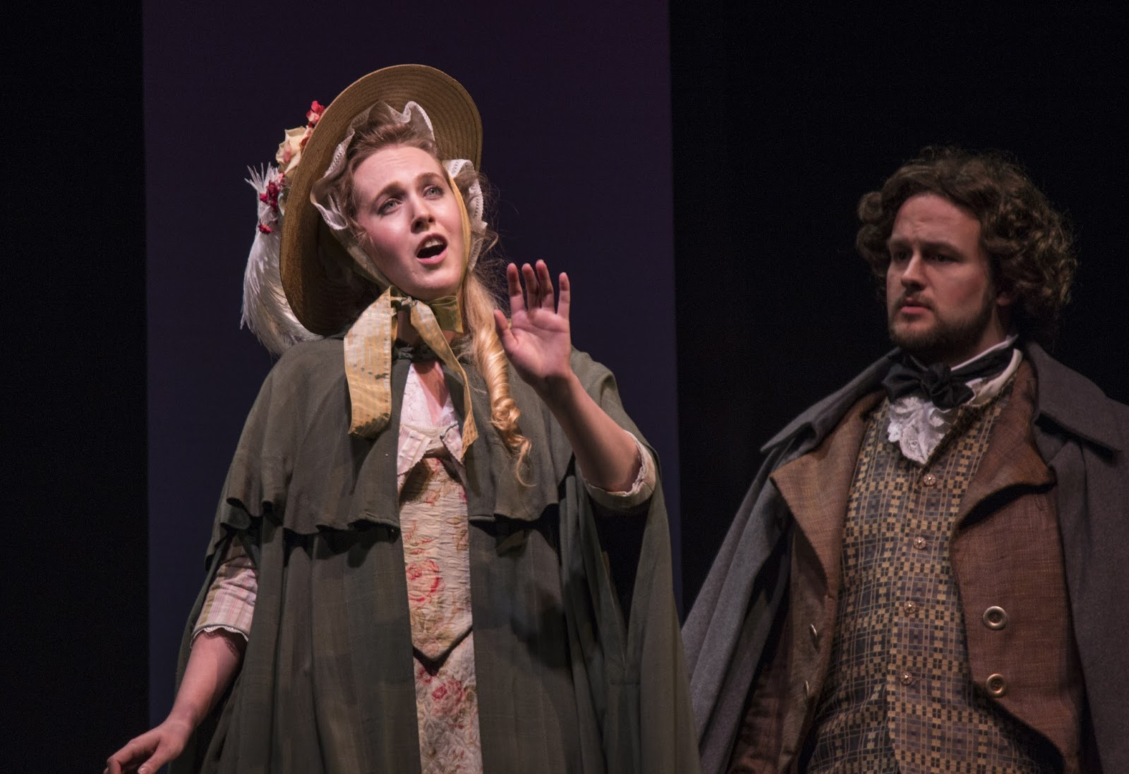 IN PERFORMANCE: Soprano ASHLEY OLIVEIRA as Blanche de la Force (left; performing on 8 April) and tenor DEREK JACKENHEIMER as the Chevalier de la Force (right) in UNCG Opera Theatre's production of Francis Poulenc's DIALOGUES OF THE CARMELITES, April 2016 [Photo by Rachel Anthony, © by rayphotographyco.com]