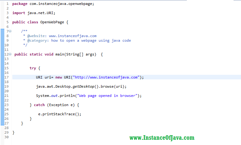 how to open a webpage using java code