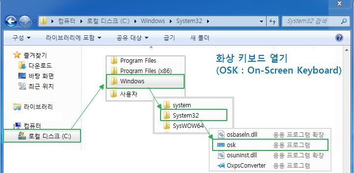 마이크로소프트 윈도우 : 화상 키보드 열기 및 사용법 (OSK : On-Screen Keyboard)