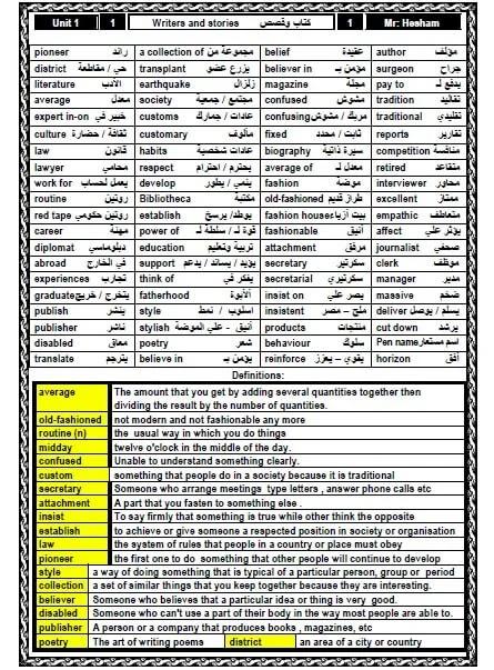 مذكرة لغة انجليزية للثانوية العامة لعام 2021