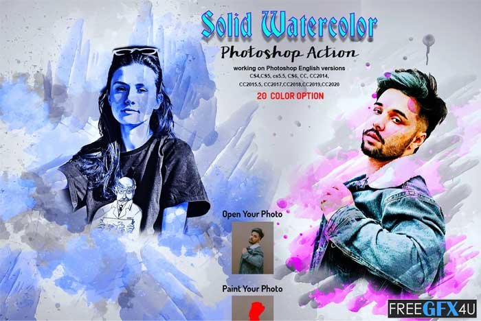 Solid Watercolor Photoshop Action