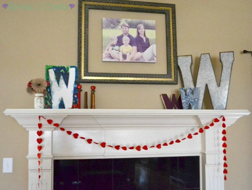 Valentine mantle decorations
