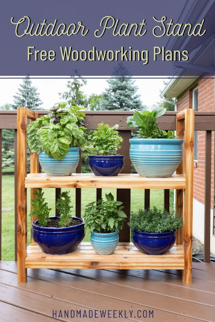 DIY Outdoor Plant Stand with Free Woodworking Plans