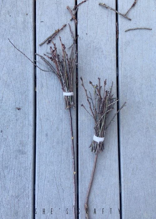 Twig Brooms for Halloween decor