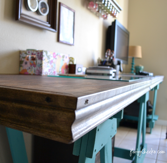 Sawhorse Styled Desk By Poofy Cheeks Via Funky Junk Interiors