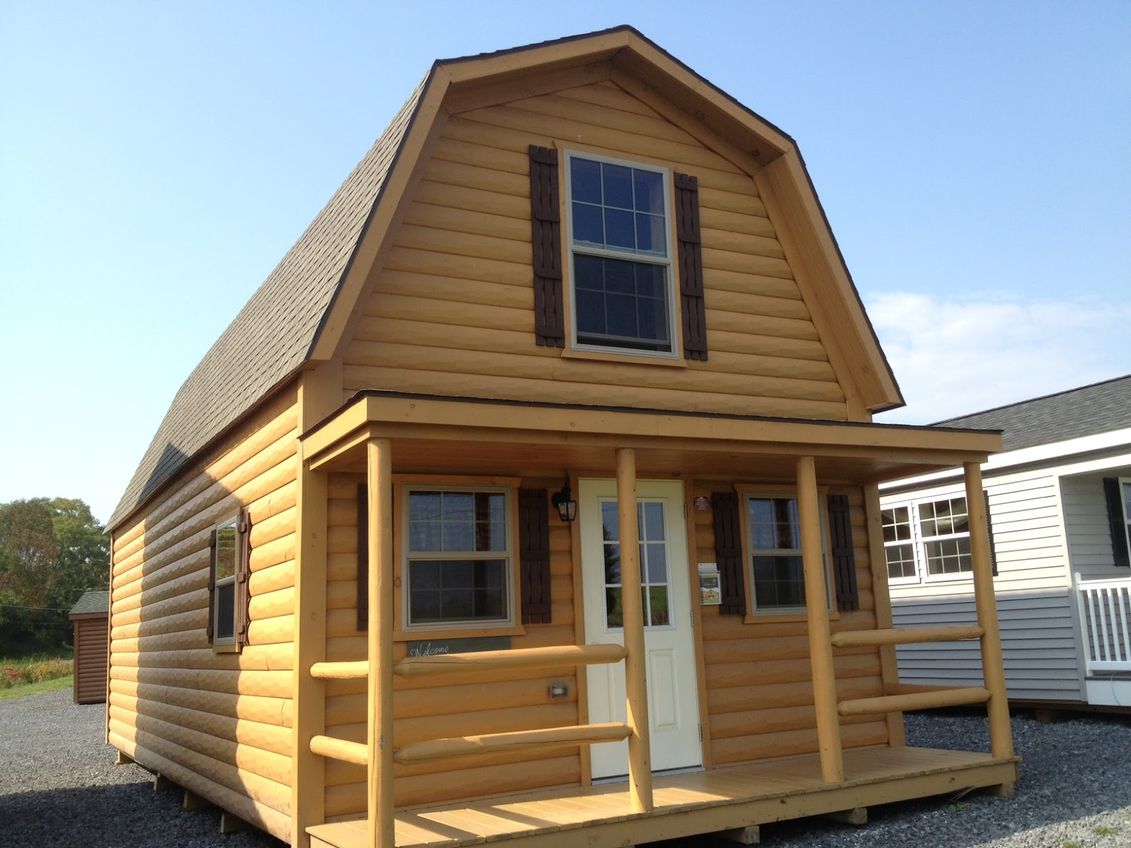 Tiny Log Home Designs: Small Scale Homes: Wood-Tex 768 Square Foot Prefab. Cabin
