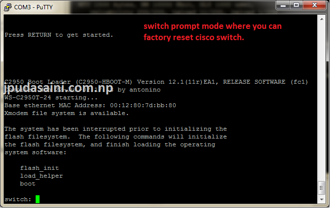 Reset password Cisco Catalyst Switch 2950/2970 ~ jpudasaini