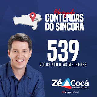 Zé Cocá 539 votos em Contendas do Sincorá