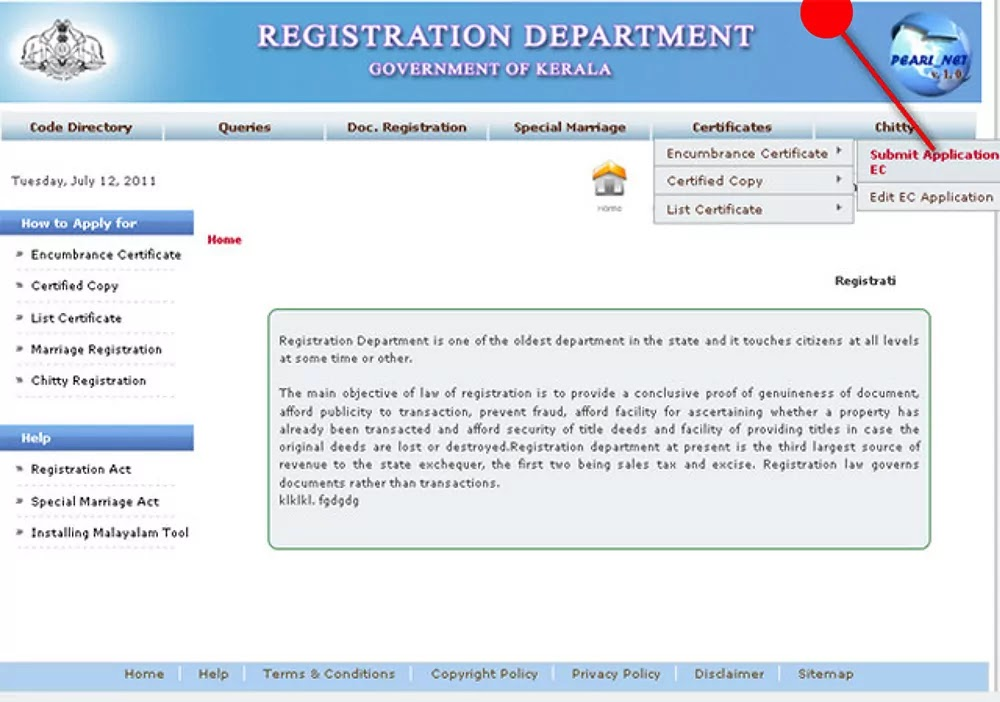Application page Encumbrance Certificate