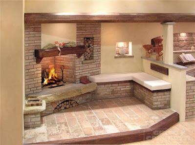 caminetto classico rustico casa rustica mattoni legno pietra