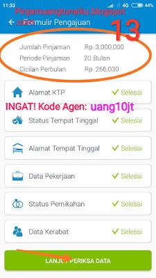 Langkah 13 Koreksi Data pengajuan pinjaman Aplikasi pinjaman Tunaiku kode agen uang10jt