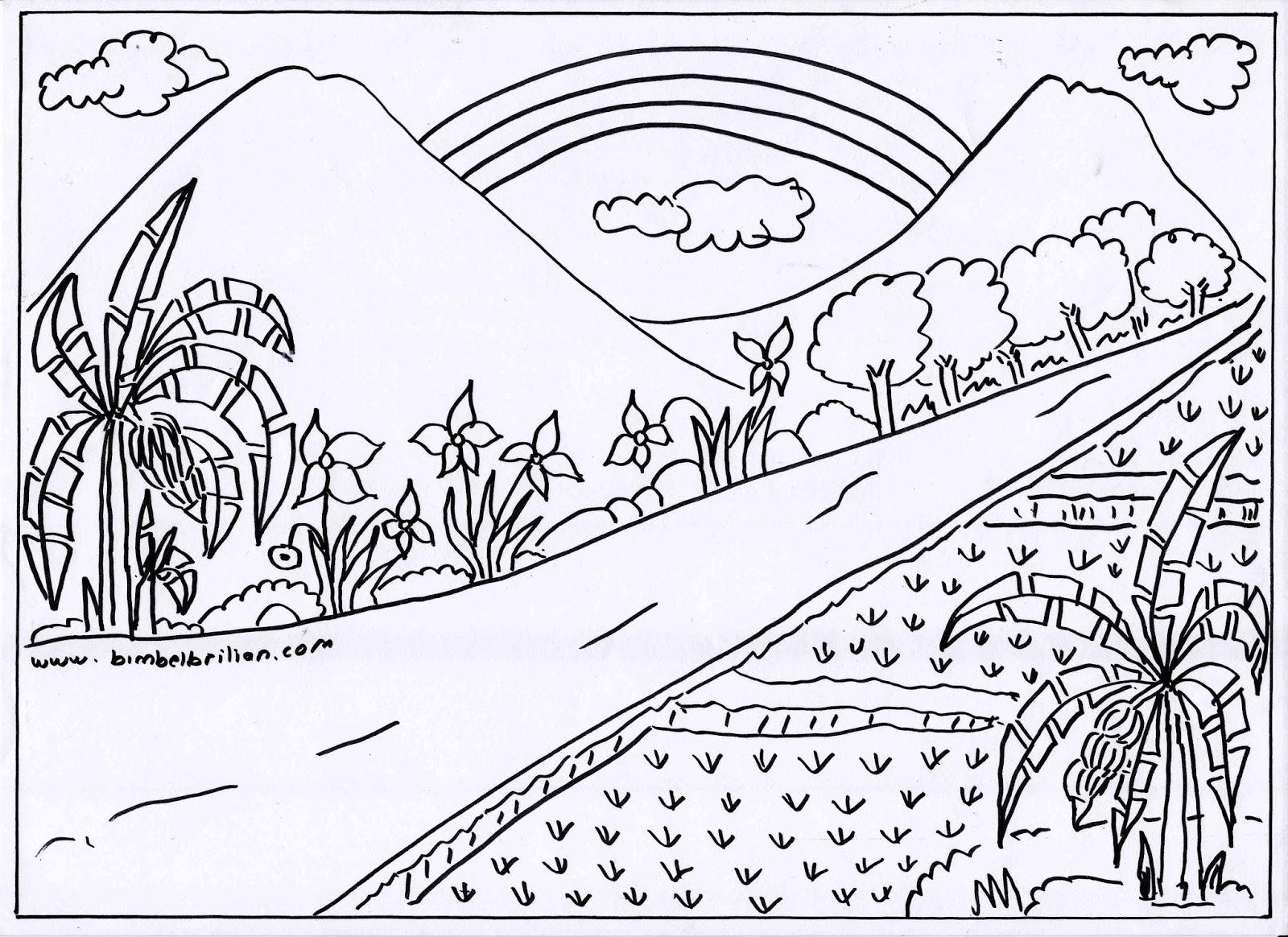 Gambar Masjid Pelangi Sawah Dan Pemandangan Gunung