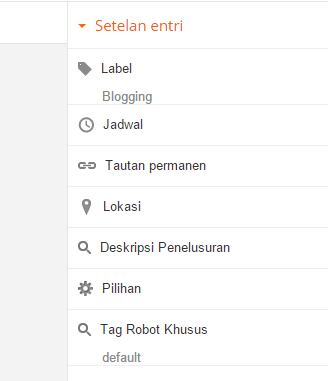 Setelan entry blogger