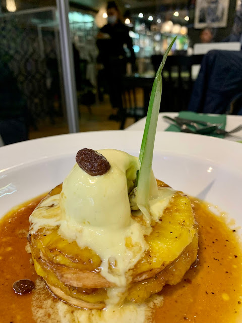 run& ginger glazed pineapple at Romulo cafe restaurant