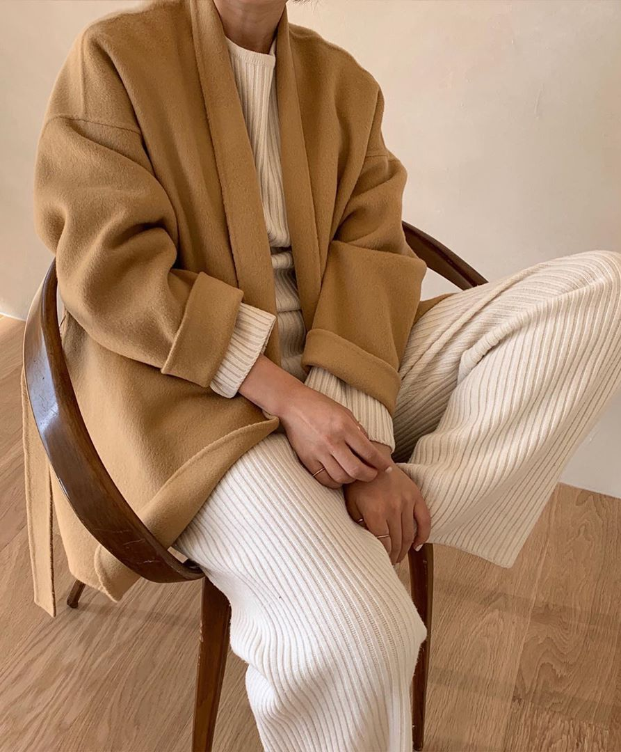 We Want to Live In A Cozy Ribbed Set This Fall and Winter — Rib Sweater and Pants With a Camel Coat