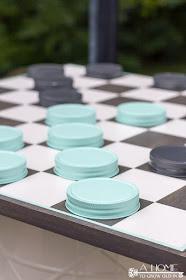 DIY oversized checker board yard game