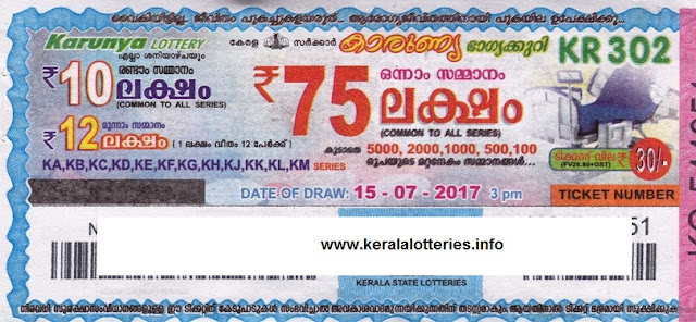 Karunya (KR-302)_Kerala Lottery Result Today