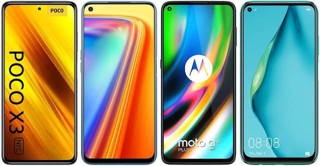 Xiaomi POCO X3 vs Realme 7 vs Motorola Moto G9 Plus vs Huawei P40 Lite