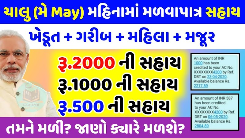 Assistance of 2000 + 1000 + 500 for farmers + laborers + poor and women in the month of May Find out when you will get it