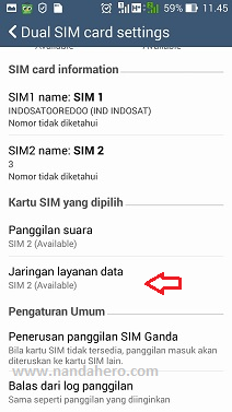 settings dual sim card untuk data