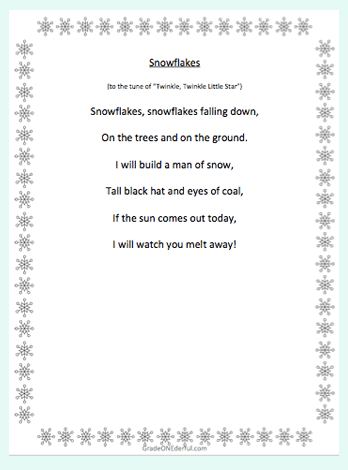 5 free snow poems for K-3