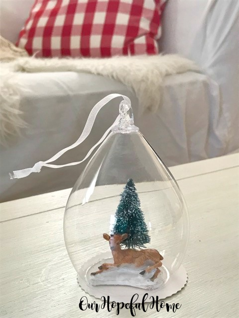 clear diy ornament snow globe bottle brush tree faux snow mini deer