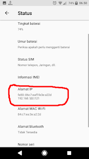 alamat ip adress di about phone android