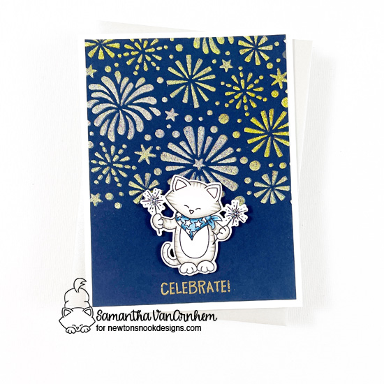 4th of July Celebrate Card by Samantha VanArnhem | Newton's 4th of July Stamp Set and Fireworks Stencil by Newton's Nook Designs #newtonsnook