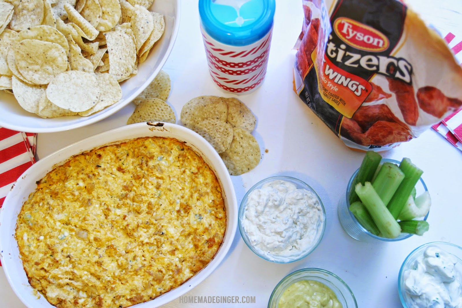 tyson wings and wet naps football party and buffalo chicken dip