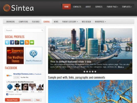 Free Sintea - Automatically Updating Slideshow WordPress Theme