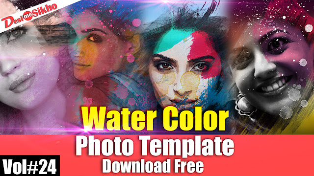 Water Color Photo Template For Photoshop Download Free Vol#24