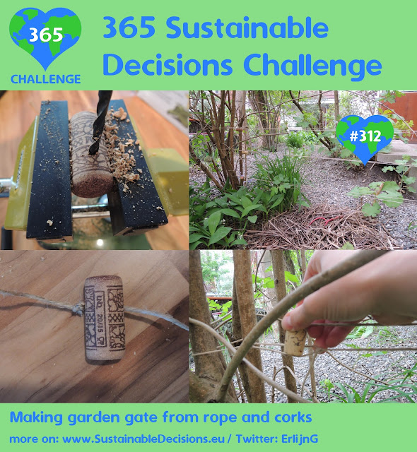 Making garden gate from rope and corks, sustainability, minimalism, sustainable living, climate action