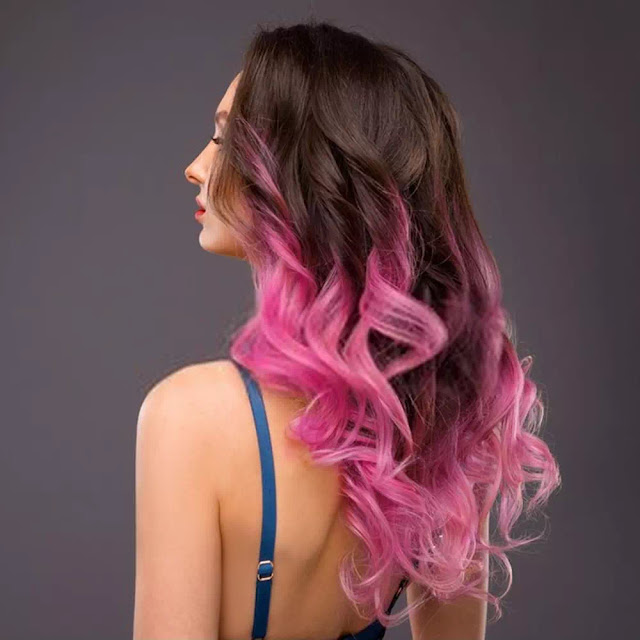 Colorful Ombre Pink Wavy Hair