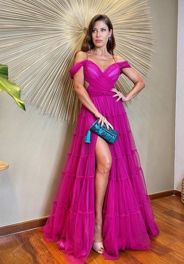 vestido longo fucsia magenta