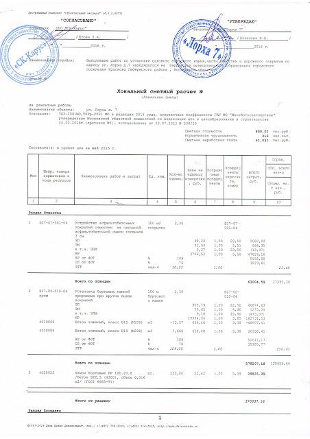 Копия локального сметного расчета на асфальтирование и установку бордюрных камней. Работы проводились в июне-июле 2016 года.