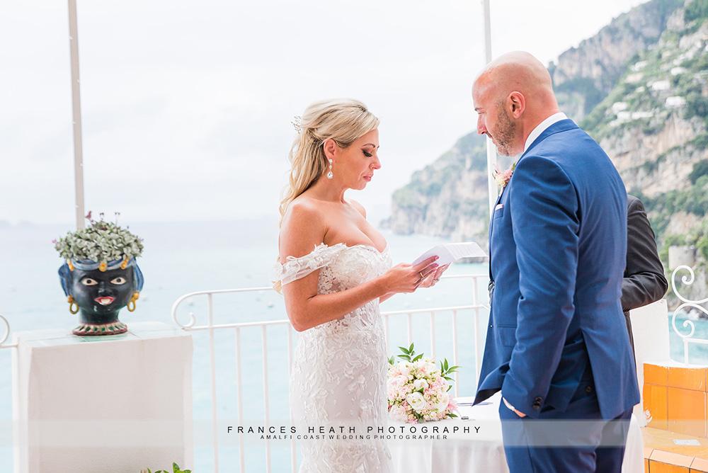 Bride's vows during elopement ceremony
