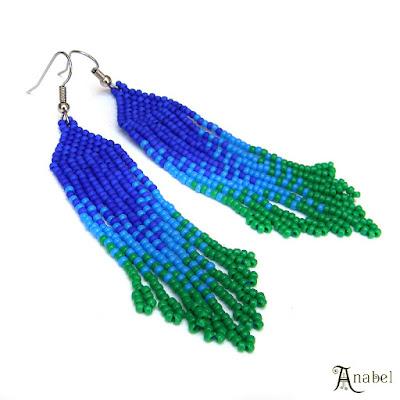 купить Сине-зелёные серьги из бисера длинные сережки handmade anabel 27