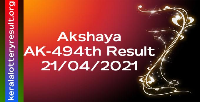 Akshaya AK 494 Lottery Result 21-04-2021