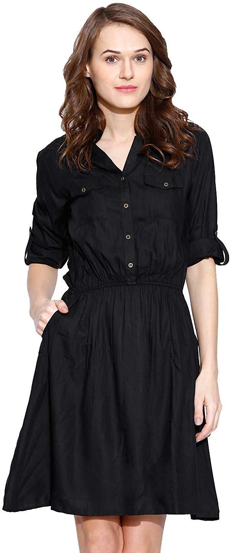 Amayra Women's Rayon A-Line Dress(Black)