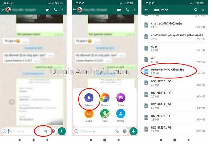 menu kirim dokumen di WhatsApp