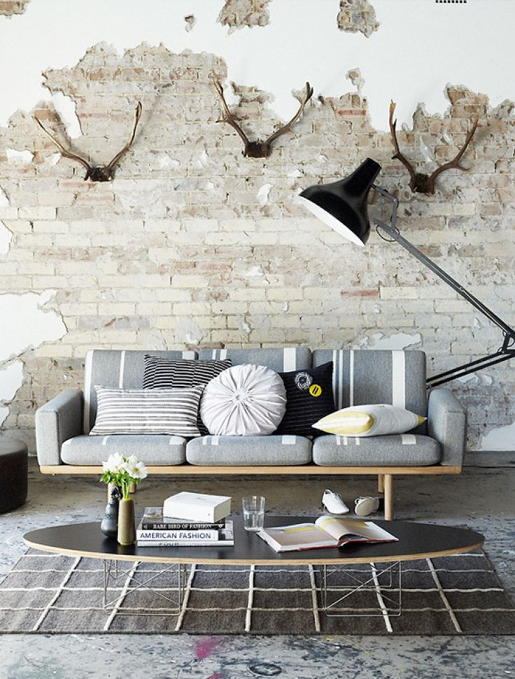 30 Distressed Rustic Living Room Design Ideas To Inspire: By Ozana: Distressed Brick Walls