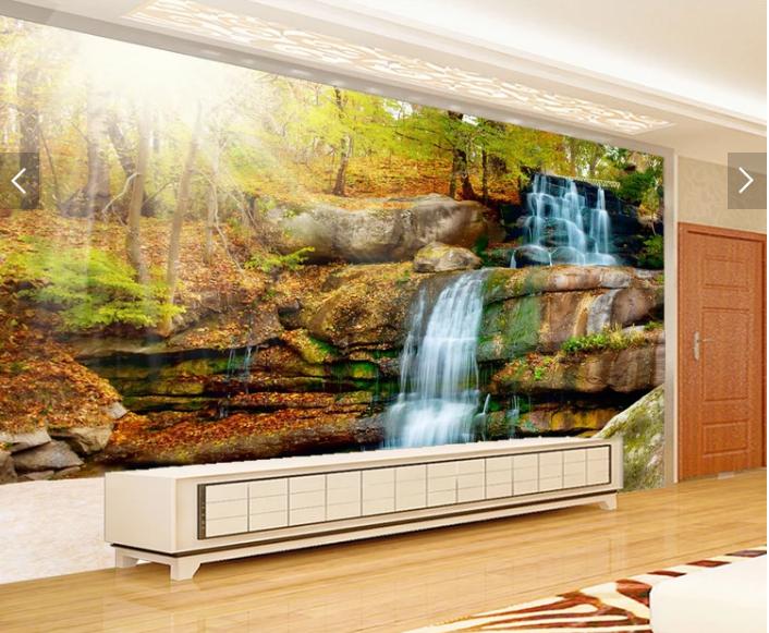 Tranh 3d dán tường rừng thác nước thiên nhiên