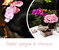 peigne cheveux avec vraies fleurs