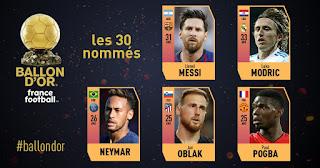 اسماء جميع المرشحين للفوز بجائزة الكرة الذهبية 2018 Ballon d'Or أفضل لاعب فى العالم لعام 2018