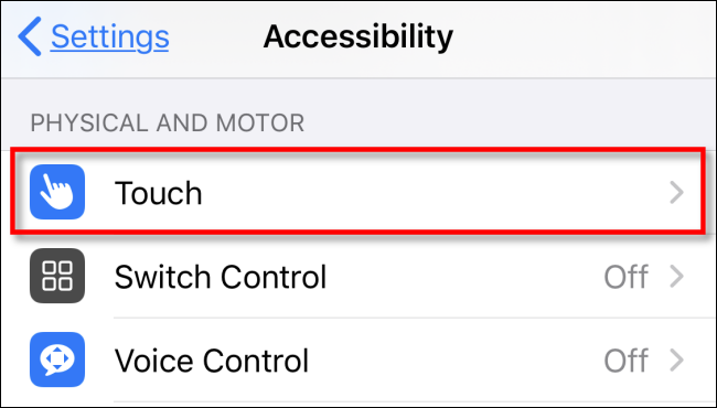 Impostazioni Tocco menu accessibilità iphone e ipad