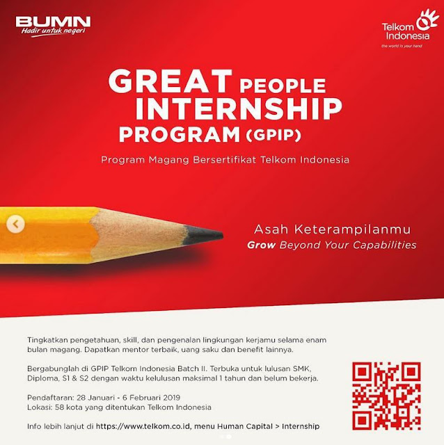Lowongan Internship Telkom Indonesia Tahun 2019