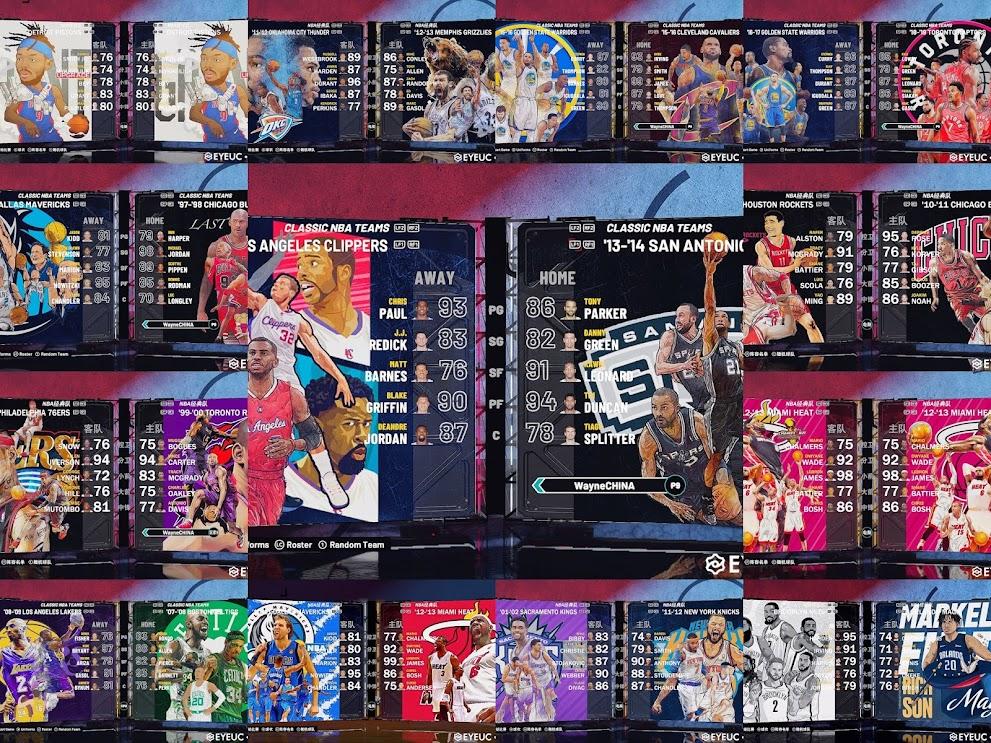 NBA 2K21 17 Retro Teams Mural Pack by ajo