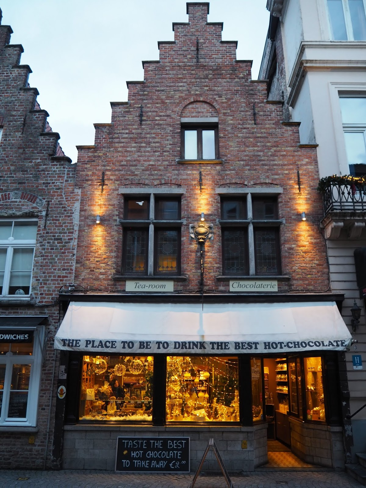 the old chocolate house in bruges during christmas